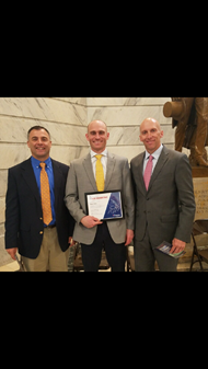 Ryan New Pictured with HS principal Mark Wade and Superintendent Mike LaFavers