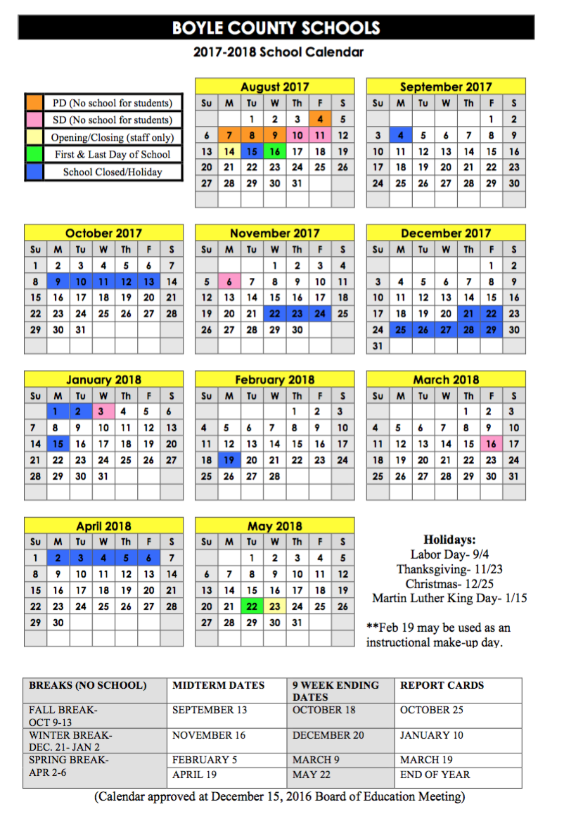 2017-18 Calendar Approved - Boyle County Schools