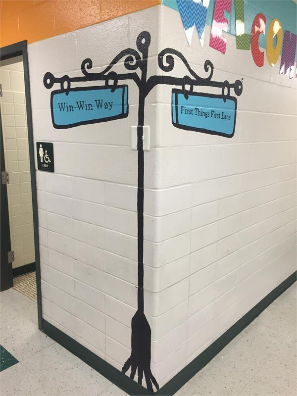 Hallway signs using the 7 Habits language