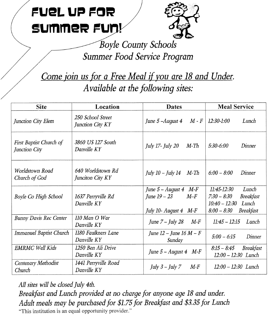 Summer Food Service Locations and Times